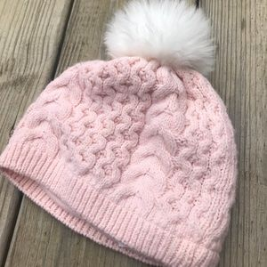 Baby puffball knit hat Janie and Jack pink